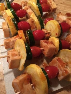 Vegan General Tso Tofu Kebab Prep
